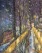 Rainy street light