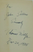 Thomas Wolfe signed book