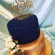 Navy Blue and Rose Gold Wedding Cake