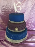 Royal Blue and Plum Sweet 16 Cake