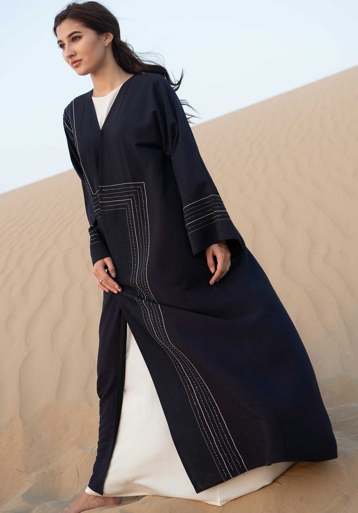 Blue Abaya with Hand Embroidery   Designer Abaya for Women at Moistreet