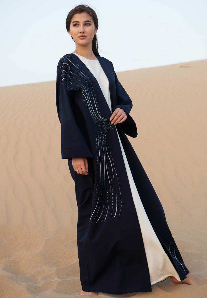Navy Open Abaya with Hand Embroidery — Buy Modern Abayas at Moistreet