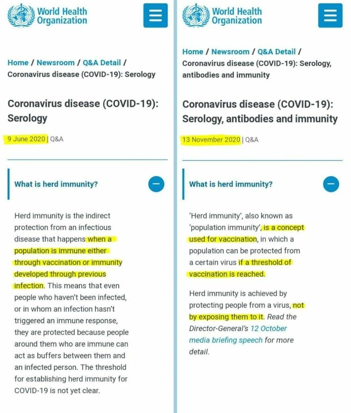 World Health Organization Quietly Changes The Definition of Herd Immunity