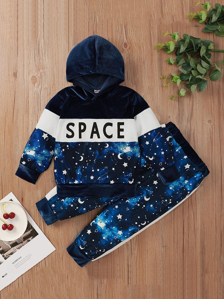 kiskissing Wholesale Two-piece Kid Boy Space Colorblock Set Hooded