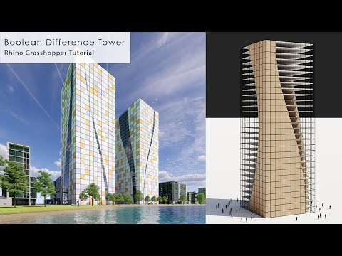 Boolean Difference Tower Rhino Grasshopper Tutorial