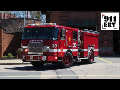 Boston Fire Ladder 25 and Engine 30 Responding