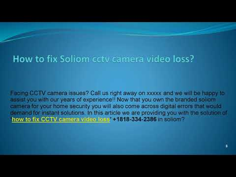 how to fix CCTV camera video loss