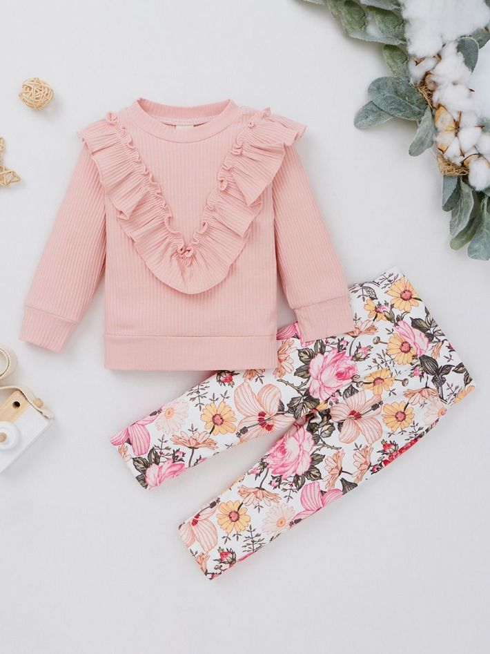 kiskissing wholesale 2-piece-toddler-girl-ruffle-decor-top-and-flower-pants-set-in-pink