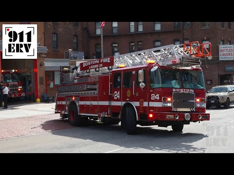 Boston Fire Ladder 24 and Engine 4 Responding