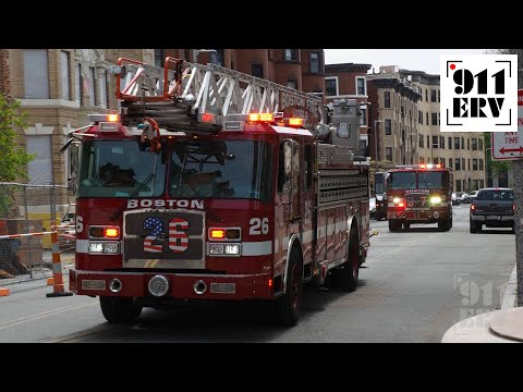 Boston Fire Ladder 26 and Engine 37 Responding