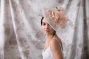 Saucer hat with crinoline and silk flowers