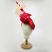 Red jinisin hat with hot pink flowers