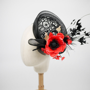 black lace round hat with poppy