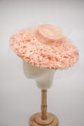peach mini dior hat with veil