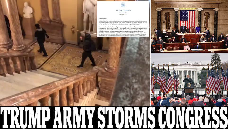 Trump supporters storm Congress as Pence and lawmakers run for safety: Mob smashes through police barriers and wall of tear gas to stop Biden's victory being certified