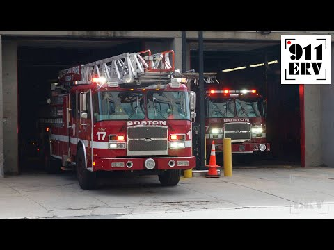 Boston Fire Ladder 17 and Engine 7 Responding