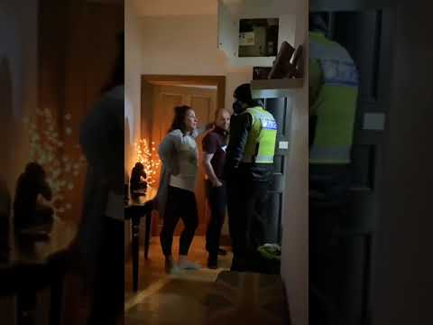 Scottish Police forcefully enters into a private home to check.