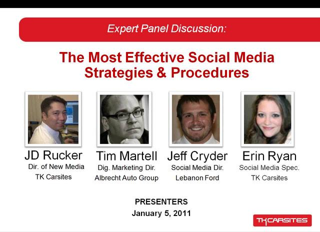 Expert Panel Discussion -- Social Media Policy Within Your Dealership