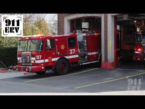 Boston Fire Engine 37 and Ladder 26 Responding