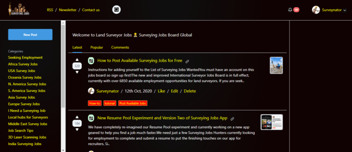 Surveying Jobs Board Redesign