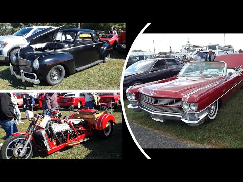 3 Street Rods In the Car Corral 40 Dodge Coupe,64 Cadillac Convertible Lowrider,35 Harley V8 Trike