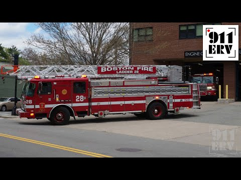 Boston Fire Ladder 28 and Engine 48 Responding