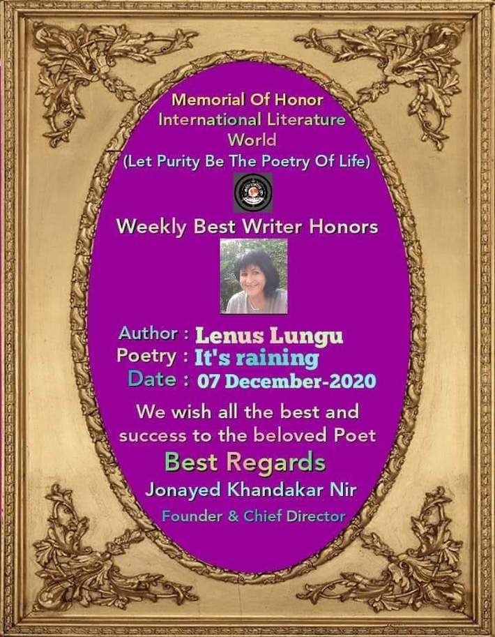 LENUŞ LUNGU - Weekly Writer Honors
