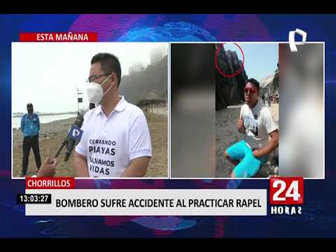 Chorrillos: bombero sufre accidente al practicar rapel