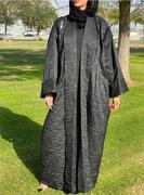 Black Textured Jacquard Abaya with Pleated Waist Detail | Abaya Online