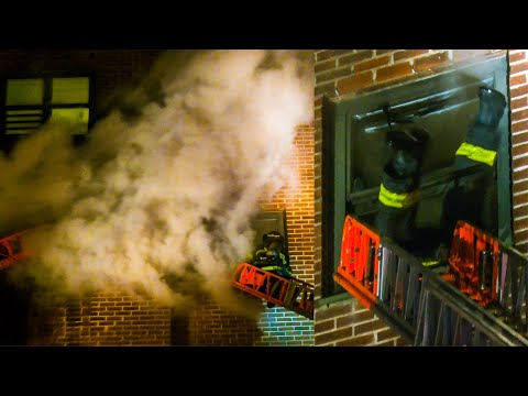 **FIREMAN DIVES THRU WINDOW!** FDNY Battles ALL-HANDS HI-RISE Fire on7th Floor in Harlem [Box 1320]