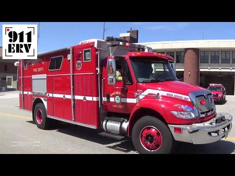Manchester, NH Fire Department Engine 11, Air 1, Car 1 Responding