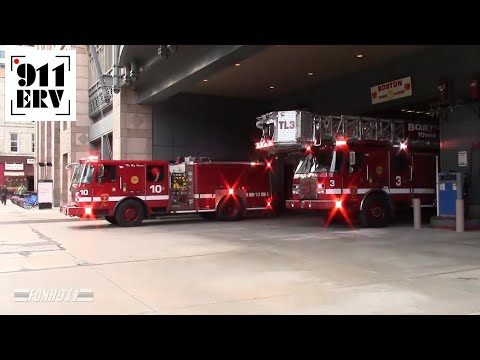 Boston Fire Engine 10 and Tower Ladder 3 Responding