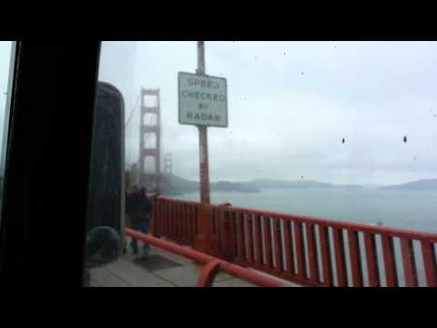 Crossing the golden gate in the veterans green bus