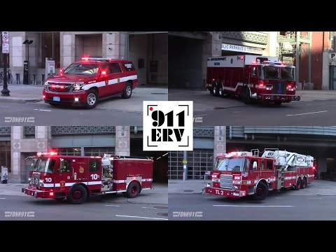Boston Fire C6, Rescue 1, Engine 10, Tower Ladder 3 Responding to Struck Box