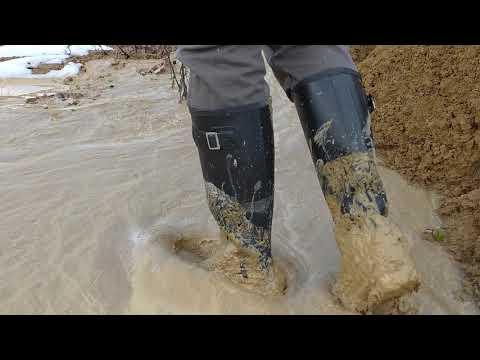 Hunter wellies in deep mud