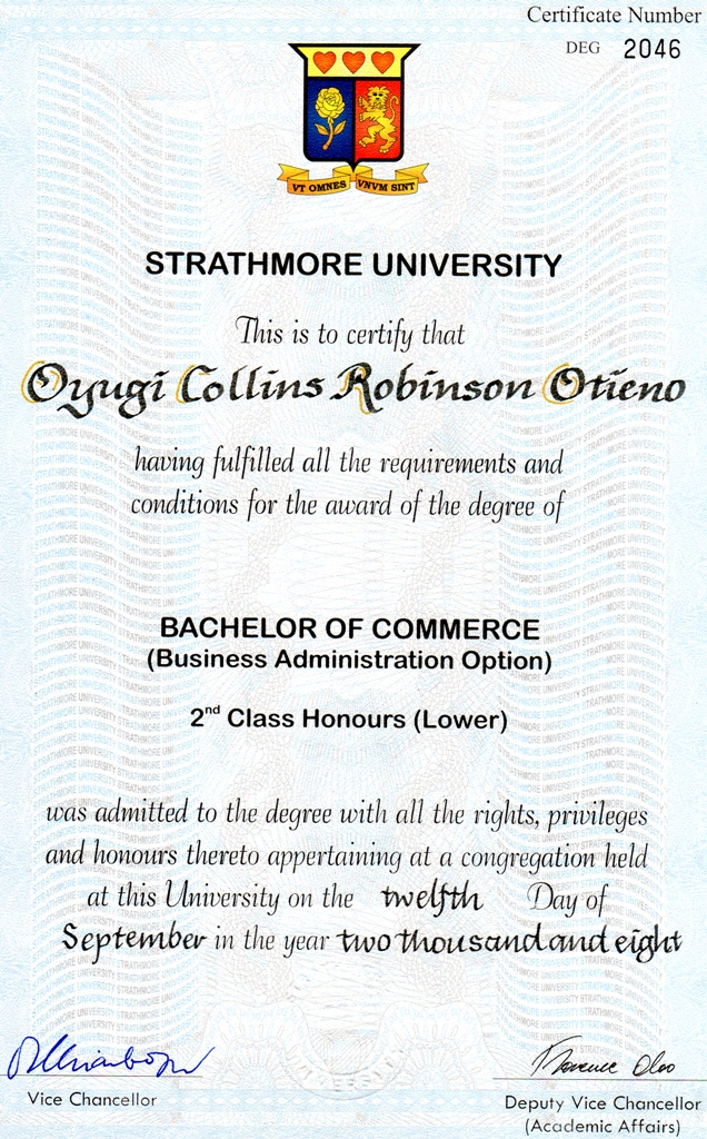 BACHELOR OF COMMERCE CERTIFICATE