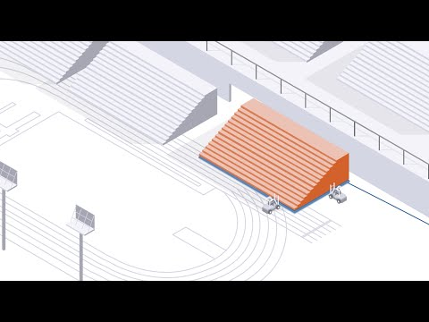 Air Caster system moves stadium seating modules