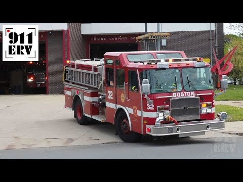 Boston Fire Engine 32 and Ladder 9 Responding