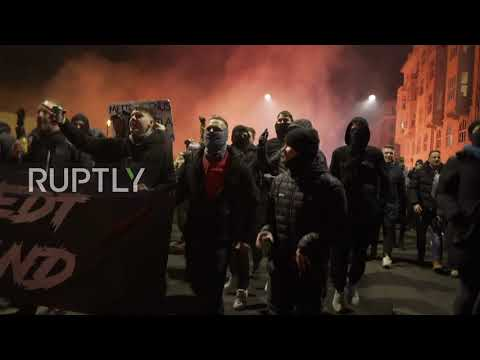 "Denmark: Hundreds of ""Men in Black"" anti-lockdown protesters march through Copenhagen"