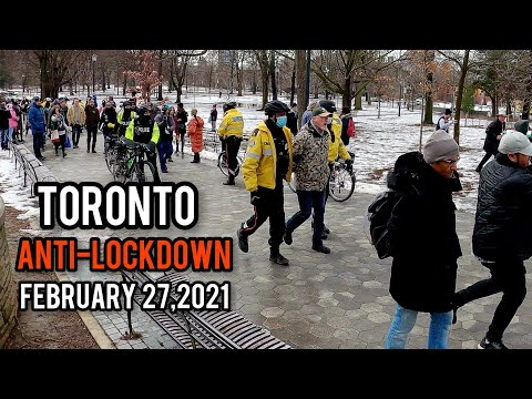 Anti-lockdown Protest, Downtown, Toronto,Canada, Saturday February 27, 2021