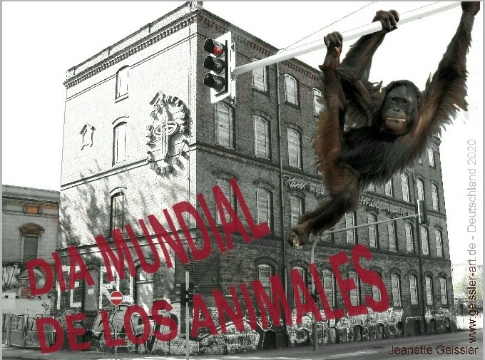 """Jeanette Geissler – mail-art project """"world animal day"""" 2020  Argentina – photomontage digitally edited,"""