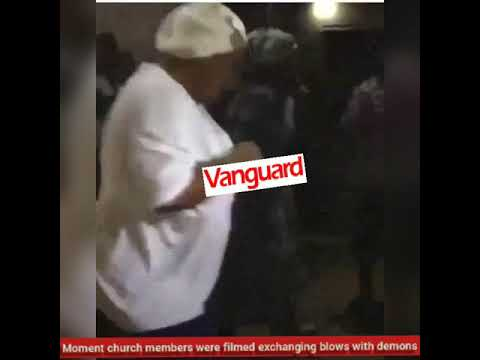 Moment church members were filmed exchanging blows with demons