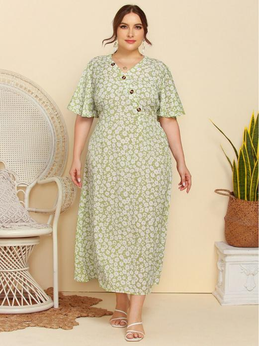shestar wholesale plus size floral print button decor dress