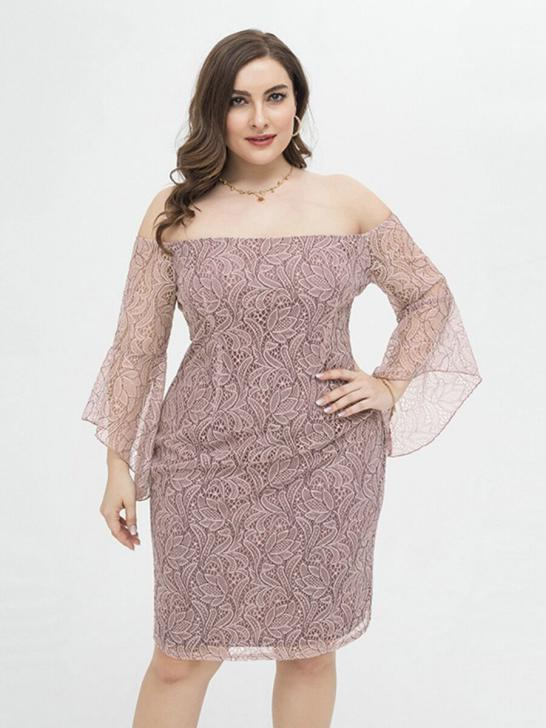 shestar wholesale plus size off shoulder sheered lace dress