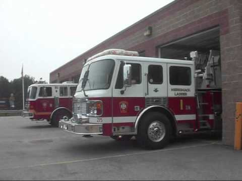 Merrimack, NH Fire Department Engine 1 and Ladder 1 Responding