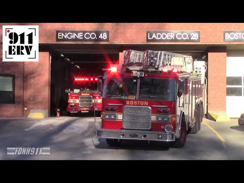 Boston Fire Spare Ladder 8 and Engine 48 Responding