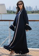 Navy Abaya with Hand Embroidery Strips   Try Abaya Designs at Moistreet
