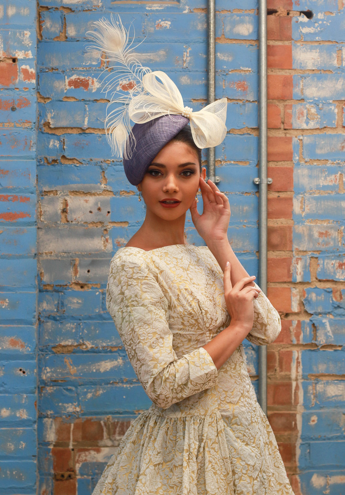 Blue and Ivory Button Pillbox Hat