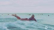 Jami paddling out at PIPE, PE