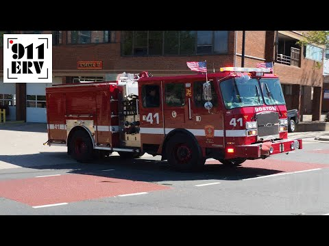 Boston Fire Ladder 14 and Engine 41 Responding